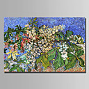 cheap Floral/Botanical Paintings-Oil Painting Hand Painted - Floral / Botanical Abstract Stretched Canvas