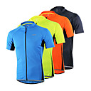 cheap Cycling Jerseys-Arsuxeo Men's Short Sleeve Cycling Jersey - Light Yellow Light Blue Dark Gray Solid Color Bike Jersey Top Breathable Quick Dry Anatomic Design Sports 100% Polyester Mountain Bike MTB Road Bike Cycling