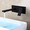 halpa Kylpyhuoneen lavuaarihanat-Kylpyhuone Sink hana - Vesiputous Musta Seinäasennus Yksi kahva kaksi reikääBath Taps