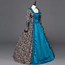 preiswerte Historische & Vintage Kostüme-Rokoko Viktorianisch Kostüm Damen Kleid Party Kostüme Maskerade Blau Vintage Cosplay Satin Langarm Boden-Länge mit Halloween Kostüme