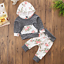 cheap Girls' Clothing Sets-Toddler Girls' Active Floral / Color Block Long Sleeve Cotton Clothing Set / Cute
