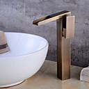 رخيصةأون حنفيات الحمام-بالوعة الحمام الحنفية - شلال نحاس عتيق في وسط التعامل مع واحد ثقب واحد