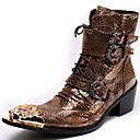 cheap Men's Boots-Unisex Fashion Boots Nappa Leather Fall / Winter Vintage Boots Mid-Calf Boots Color Block Gold / Party & Evening