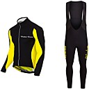 cheap Cycling Jersey & Shorts / Pants Sets-Wisdom Leaves Long Sleeve Cycling Jersey with Bib Tights - Black / Red / Black / Yellow Bike Jersey / Clothing Suit Polyester Solid Color / Stretchy