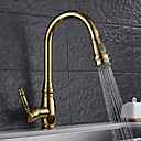 cheap Shower Faucets-Kitchen faucet - Contemporary Ti-PVD Pull-out / ­Pull-down Vessel / Brass / Single Handle One Hole