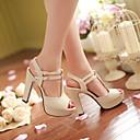 baratos Sandálias Femininas-Mulheres Sapatos Courino Primavera / Verão Sandálias Salto Robusto / Plataforma Presilha Preto / Rosa claro / Amêndoa
