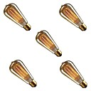 cheap Incandescent Bulbs-5pcs 40W E26/E27 ST58 Warm Yellow 2200-3000 K Dimmable Incandescent Vintage Edison Light Bulb AC 220-240V V