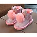 Chica Zapatos Lentejuelas PU Invierno Otoño Botas de nieve Confort Botas Paseo Mitad de Gemelo Pompón para Casual Negro Gris Rosa