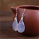 olcso Divat fülbevalók-Női Onyx Függők Francia kapcsos fülbevalók - Ezüst Fehér Kompatibilitás Esküvő Napi