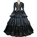 cheap Historical & Vintage Costumes-Rococo Victorian Costume Party Costume Masquerade Black Vintage Cosplay Taffeta 100% Cotton Satin Long Sleeve Bell Sleeve Ankle Length Ball Gown Plus Size Customized