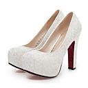 preiswerte Damen Heels-Damen Schuhe PU Frühling / Herbst Komfort / Neuheit High Heels Stöckelschuh Runde Zehe Paillette Gold / Weiß / Blau / Hochzeit