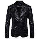 cheap Men's Accessories-Men's Work Street chic Leather Jacket - Solid Colored Shirt Collar