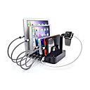 baratos Carregadores USB-Carregador USB 6 portas Estação de carregador de mesa Com Switch (es) Dock Stand Adaptador de carregamento