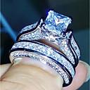 זול טבעות-בגדי ריקוד נשים זירקונה מעוקבת טבעת הטבעת - נחושת יום יומי, אופנתי, אלגנטית 5 / 6 / 7 כסף עבור חתונה / מתנה