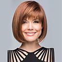 hesapli Sentetik Kapsız Peruklar-İnsan Saçları Kapsız Peruklar Gerçek Saç Kinky Düz Bob Saç Kesimi Bantlı Patlama ile Yan Parti Orta Makine Yapımı Peruk Kadın's