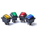 billige Antennetopper-4pcs 12v 15a 4pin vanntett rocker bryter med lampe lys dpst dpst bilbåt