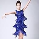 cheap Latin Dance Wear-Latin Dance Dresses Women's Performance Tulle Tassel Sleeveless Natural Dress