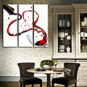 זול שעוני קיר מוטבעים בציורי קנבס-סגנון מודרני עץ ריבוע בבית,סוללה