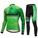 tanie Zestawy koszulek i spodni rowerowych-CYCOBYCO Męskie Długi rękaw Koszulka i spodnie na rower - Zielony Rower Spodnie / Dżersej / Rajstopy, Wkładka 3D, Szybkie wysychanie, Odblaskowe paski Lycra Kropki / Elastyczny / Zaawansowany
