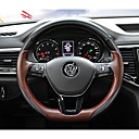 """זול שטיחים לפנים הרכב-כיסויים להגה עור אמיתי 38ס""""מ שחור / קפה עבור Volkswagen טרמונט 2017"""