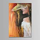 זול ציורי שמן-ציור שמן צבוע-Hang מצויר ביד - אנשים עכשווי / פשוט / מודרני כלול מסגרת פנימית / בד מתוח