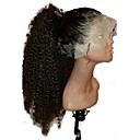 olcso Divat nyaklánc-Emberi haj Csipke korona, szőtt Csipke Paróka Mongol haj Göndör Kinky Curly Paróka 130% Haj denzitás Természetes hajszálvonal Középső rész 100% Szűz Női Rövid Közepes Emberi hajból készült parókák
