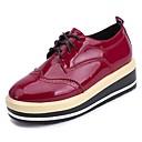 olcso Női Oxford cipők-Női Lakkbőr Tavasz Kényelmes Félcipők Lapos Kerek orrú Fekete / Burgundi vörös