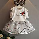 billige Tøjsæt til piger-Baby Pige Afslappet Daglig Trykt mønster Halvlange ærmer Normal Normal Bomuld Tøjsæt Hvid / Sødt