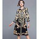 お買い得  ラテンダンスウェア-女性用 シース ドレス - プリント, 幾何学模様 膝丈 シャツカラー