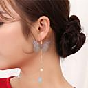 abordables Pendientes-Mujer Cristal Pendientes colgantes / cuelga los pendientes - Cristal, Perla Artificial Mariposa De Gran Tamaño Verde / Azul / Rosa Para Fiesta / Enamorado