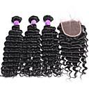 זול פיאות סינטטיות ללא כיסוי-שיער מלזי גל עמוק שיער בתולי שיער Weft עם סגירה 3 חבילות עם סגירה שוזרת שיער אנושי שחור תוספות שיער אדם