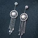 זול עגילים-בגדי ריקוד נשים עגילים צמודים / טבעות חישוקים - אבן נוצצת, מצופה כסף כסף עבור חתונה / Party