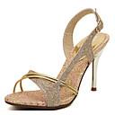 baratos Sandálias Femininas-Mulheres Sapatos Couro Ecológico Primavera / Verão Conforto Sandálias Salto Agulha Dourado