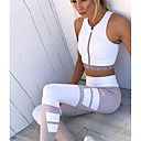 cheap Cycling Jerseys-Women's Running Tights - White Sports Tights Yoga, Exercise & Fitness, Running Lightweight, Breathability Stretchy Striped