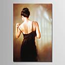 זול ציורי שמן-ציור שמן צבוע-Hang מצויר ביד - אנשים פשוט / מודרני ללא מסגרת פנימית / בד מגולגל