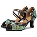 billige Moderne sko-Sko til latindans Tyll Sandaler / Høye hæler Tvinning / Strå Kustomisert hæl Kan spesialtilpasses Dansesko Grønn / Svart