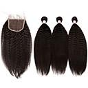 preiswerte Haarverlängerungen in natürlichen Farben-3 Bundles mit Verschluss Brasilianisches Haar Kinky Glatt 10A Unbehandeltes Haar Haar-Einschlagfaden mit Verschluss Menschliches Haar Webarten Haarverlängerungen