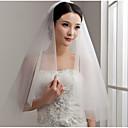 baratos Véus de Noiva-Duas Camadas Corte da borda Véus de Noiva Com Fru-Fru Tule