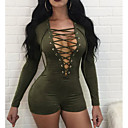 cheap Necklaces-Women's Holiday Cotton Romper - Solid Colored V Neck / Spring / Summer / Lace / Skinny