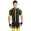 cheap Cycling Messenger Bags,Backpacks & Waistpacks-Nuckily Men's Short Sleeves Cycling Jersey with Shorts - Yellow Geometic Bike Shorts Jersey Clothing Suits, Ultraviolet Resistant,