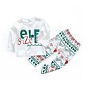 tanie Zestawy ubrań dla niemowląt-Dziecko Dla dziewczynek Casual Święta / Codzienny Nadruk Długi rękaw Bawełna Komplet odzieży Biały 90