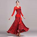 cheap Dance Accessories-Ballroom Dance Dresses Women's Performance Tulle Ice Silk Pattern / Print Long Sleeves High Dress