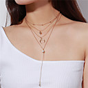 cheap Chandeliers-Women's Crystal Layered Lariat Statement Necklace / Layered Necklace - Crystal Moon, Heart Multi Layer Gold, Silver Necklace Jewelry For Party, Daily