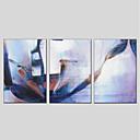 baratos Spinners de mão-Pintura a Óleo Pintados à mão - Abstrato Modern Incluir moldura interna / 3 Painéis / Lona esticada