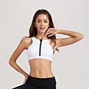 זול בגדי ריצה-רוכסן קדמי חזיות ספורט מרופד תמיכה קלה עבור יוגה - לבן / נייבי כהה מתיחה בגדי ריקוד נשים אותיות ניילון