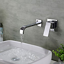 cheap Bathtub Faucets-Bathroom Sink Faucet - Waterfall Chrome Wall Mounted Three Handles Two Holes