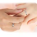 baratos Anéis-Casal Anéis de Casal / Anel de banda - Prata de Lei, Zircão Amor Casamento Ajustável Prata Para Casamento / Festa / Presente
