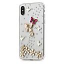 זול מגנים לטלפון & מגני מסך-מגן עבור Apple iPhone X / iPhone 8 Plus ריינסטון / תבנית כיסוי מלא פרח קשיח עור PU ל iPhone X / iPhone 8 Plus / iPhone 8
