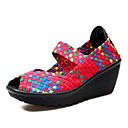 cheap Women's Sneakers-Women's Shoes PU(Polyurethane) Spring / Fall Comfort Sandals Wedge Heel Peep Toe Purple / Fuchsia / Green