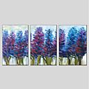 halpa Abstraktit maalaukset-Hang-Painted öljymaalaus Maalattu - Kukkakuvio / Kasvitiede Moderni Sisällytä Inner Frame / 3 paneeli / Venytetty kangas